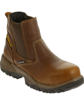 CAT Women's Veneer Waterproof Composite Toe Work Boots, Brown, hi-res