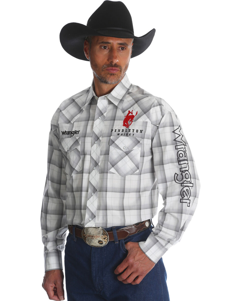 Wrangler Men's Pendleton Plaid Western Logo Shirt, White, hi-res