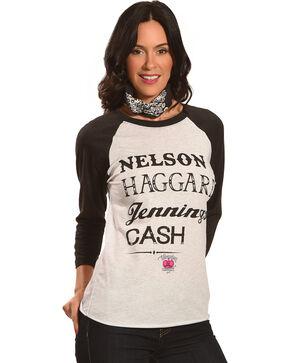 Bohemian Cowgirl Women's Nelson Haggard Jennings Cash Raglan Tee, Grey, hi-res