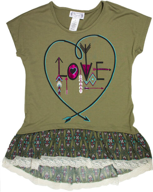 Shyanne® Girls' Love Arrows Layered Tee, Olive, hi-res