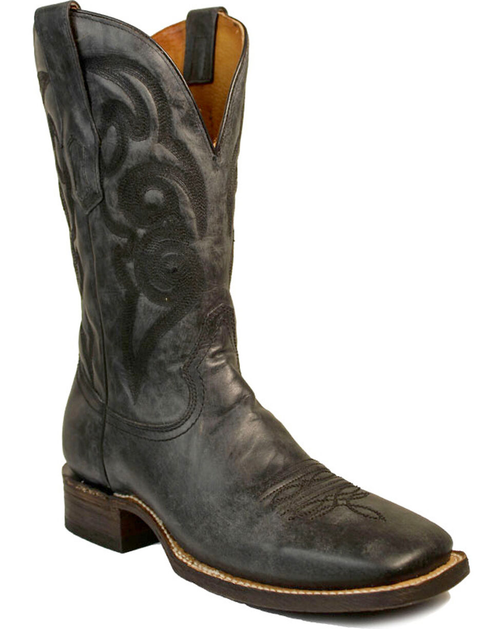 Corral Men's Distressed Square Toe Western Boots, Black/blue, hi-res