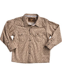 Cowboy Hardware Toddler Boys' Mini Paisley Print Long Sleeve Shirt, Brown, hi-res