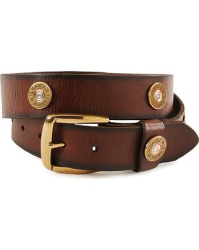 Nocona Men's 12 Gauge Leather Belt, Brown, hi-res