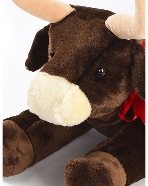 Aurora Plush Bull with Ribbon, Brown, hi-res