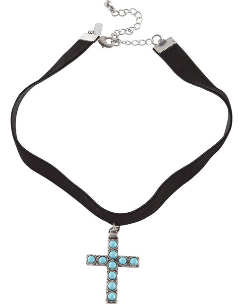 Shyanne® Women's Turquoise Cross Choker, Turquoise, hi-res