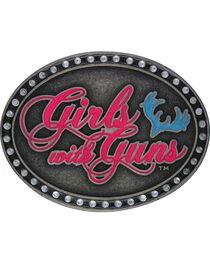 Girls With Guns Oval Neon Attitude Belt Buckle, , hi-res