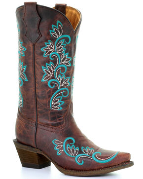 Corral Girls' Cowhide Turquoise Embroidery Cowgirl Boots - Snip Toe, Brown, hi-res