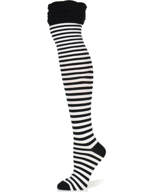 K.Bell Women's Striped Over-The-Knee Socks, Black, hi-res