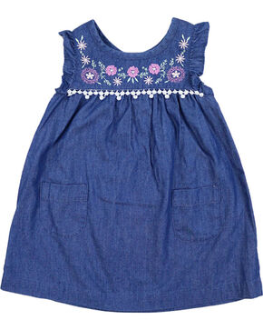 Shyanne Toddler Girl's Embroidered Denim Dress, Blue, hi-res