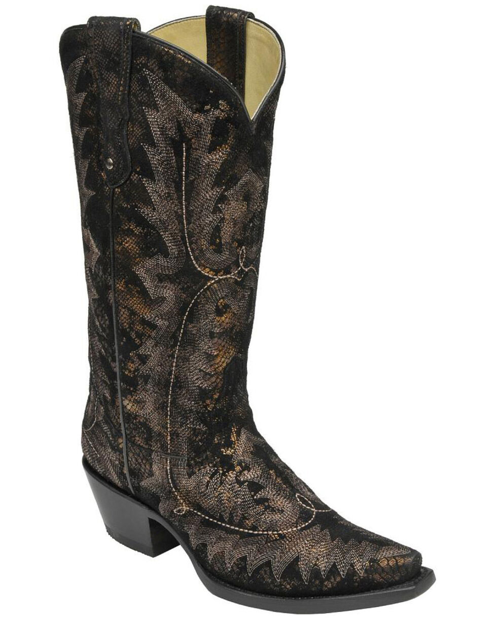 Corral Women's Metallic Snake Print Western Boots, Black, hi-res