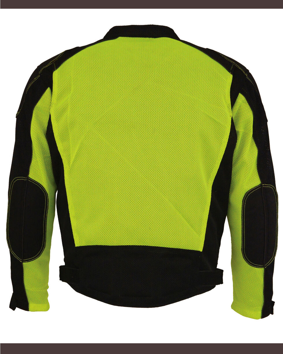 Milwaukee Leather Men's High Visibility Mesh Racer Jacket with Removable Rain Liner - 4X, Bright Green, hi-res