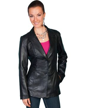 Scully Women's Tailored Lamb Blazer, Black, hi-res