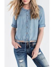 Miss Me Women's Denim Short Sleeve Crop Top, , hi-res