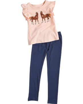 Shyanne Toddler Girls' Horse Top and Leggings Set, Pink, hi-res