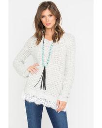 Shyanne Women's Oatmeal Lace Hem Waffle Pullover Sweater  , , hi-res