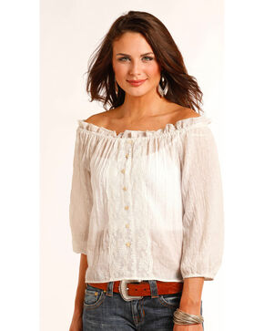 Panhandle Women's Cream Crepe Top , Cream, hi-res
