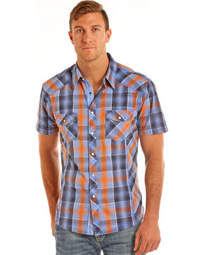 Rock & Roll Cowboy Men's Blue Crinkle Washed Plaid Shirt , Blue, hi-res