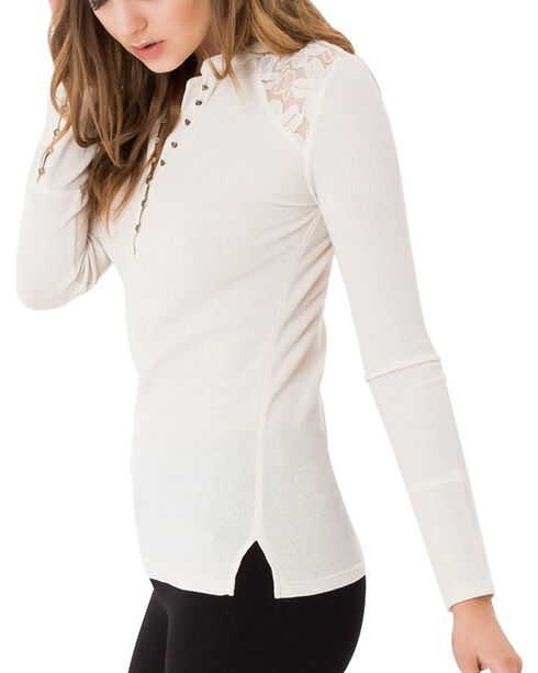 Others Follow Women's Lace Shoulder Henley, Ivory, hi-res