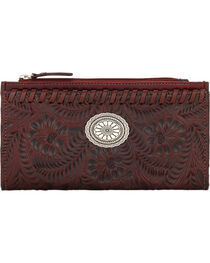 American West Women's Red Tooled Foldover Snap Closure Wallet , , hi-res