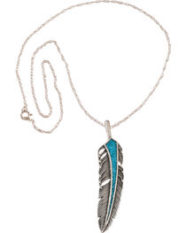 Silver Legends Women's Sterling Silver & Turquoise Feather Necklace, , hi-res