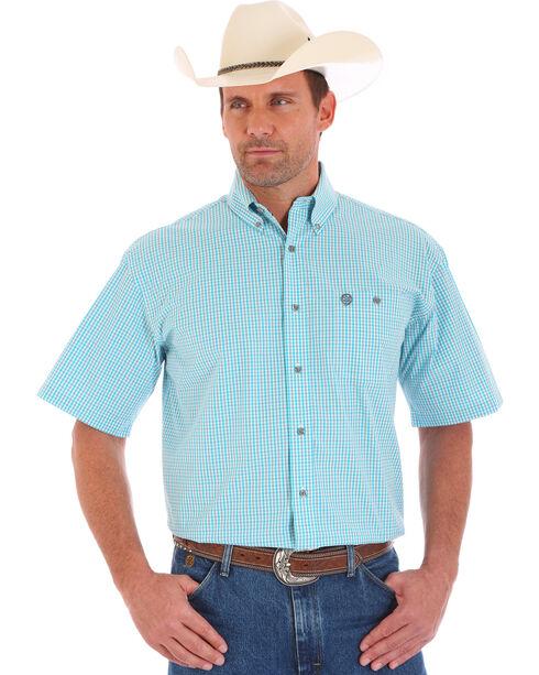 Wrangler Men's George Strait Plaid Short Sleeve Shirt, Green, hi-res