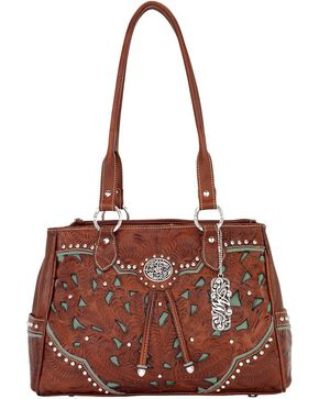 American West Women's Lady Lace Purse, Brown, hi-res