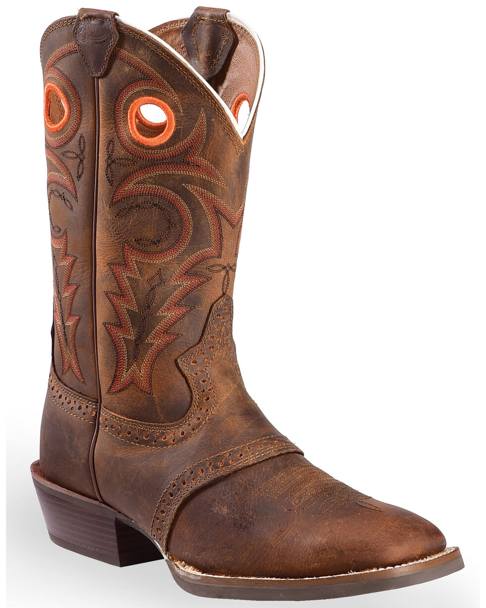 Justin Men's Silver Collection Buckaroo Western Boots, Whiskey, hi-res