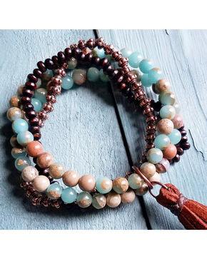 Jewelry Junkie Women's Aqua Terra Multi-Strand Bracelet , Aqua, hi-res