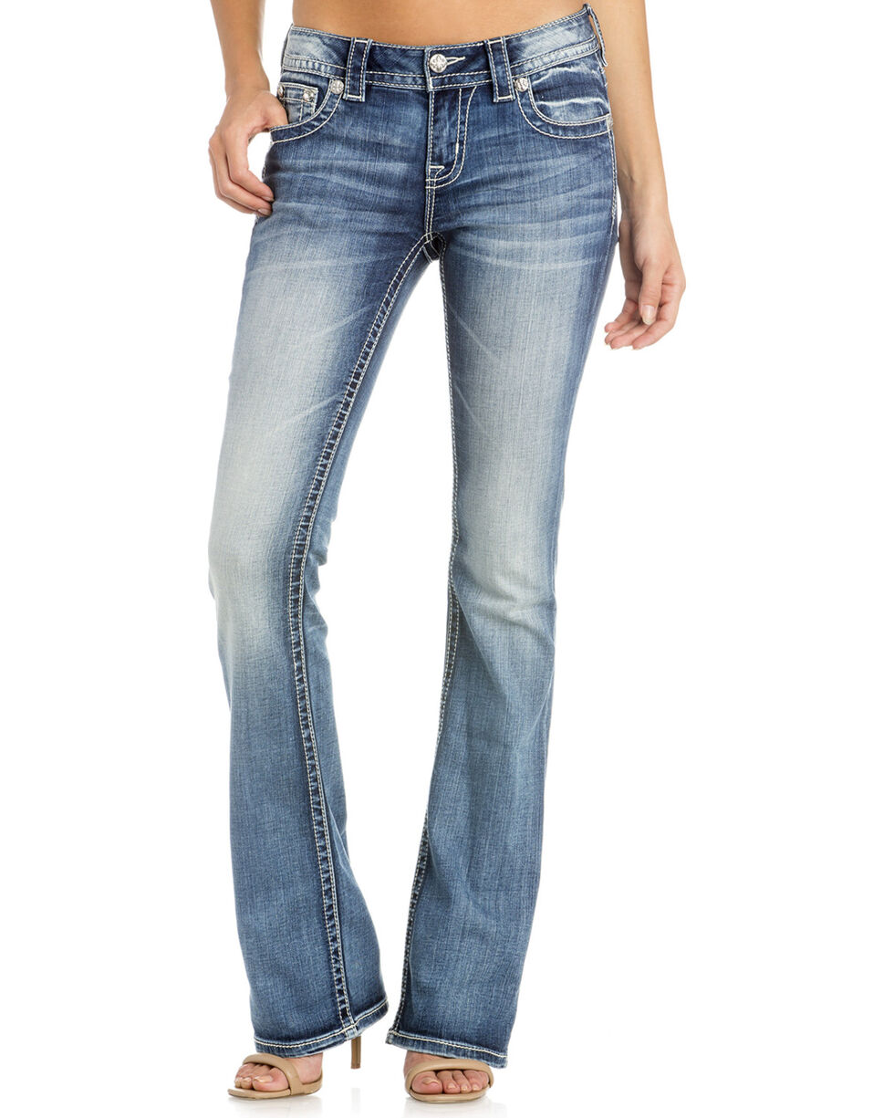 Miss Me Women's Get Exposed Mid-Rise Boot Cut Jeans, Indigo, hi-res