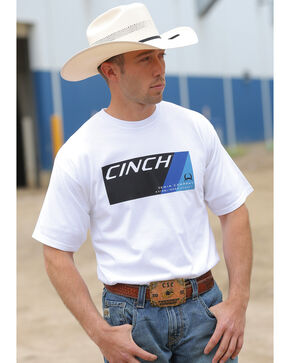 Cinch Men's White Logo T-Shirt, White, hi-res