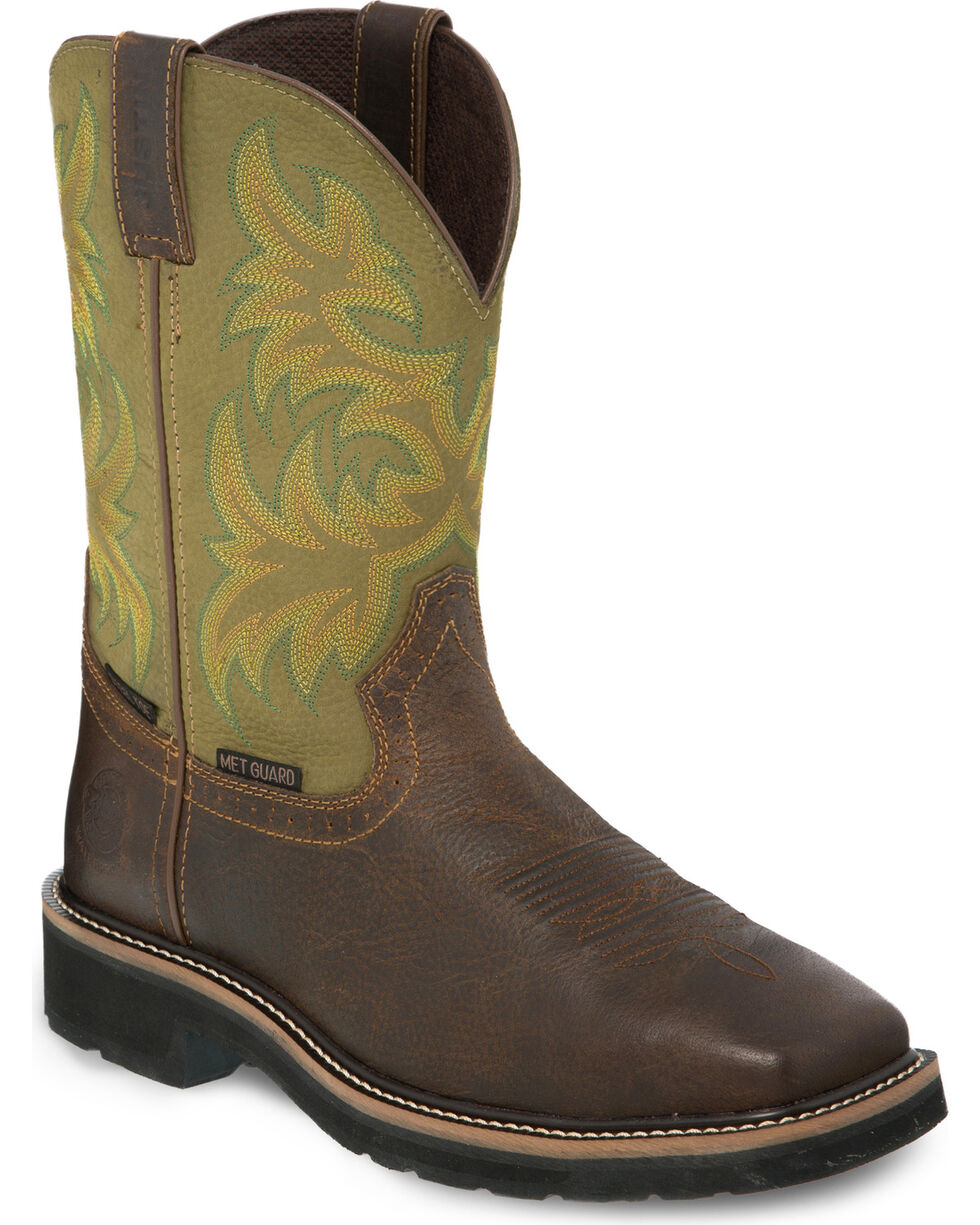 Justin Men's Keavan Steel Toe Western Work Boots, Brown, hi-res