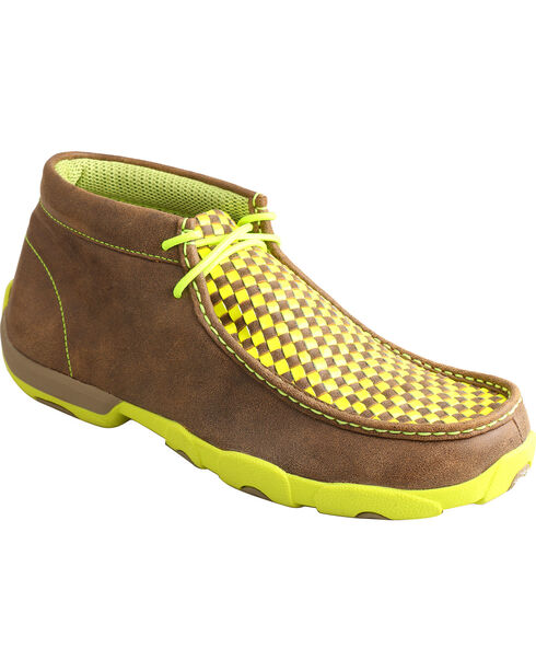 Twisted X Men's Neon Checkered Driving Moc Lace Up Casual Shoes, Bomber, hi-res