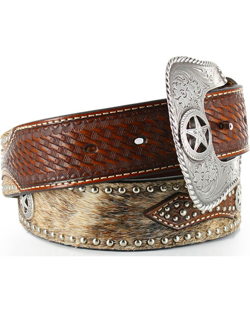 Cody James® Men's Hair on Hide Belt, Tan, hi-res
