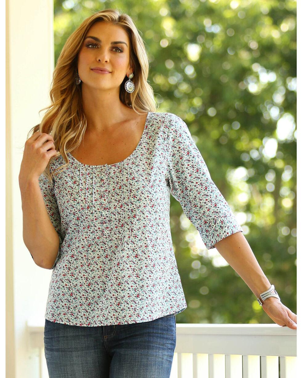 Wrangler Women's Three Quarter Pin Tucked Shirt , Multi, hi-res