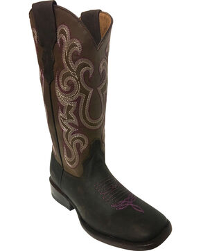 Ferrini Women's Black Cowhide Cowgirl Boots - Square Toe, Black, hi-res