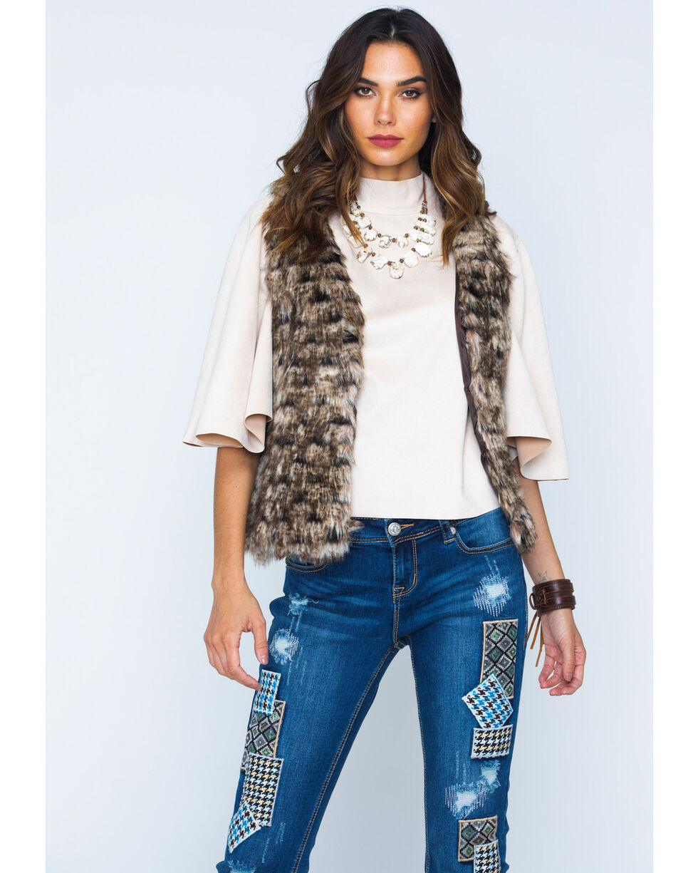 Scully Faux Fur Vest, Brown, hi-res