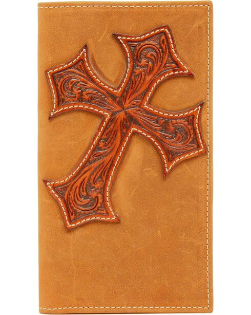 Nocona Tooled Cross Overlay Rodeo Wallet, Aged Bark, hi-res