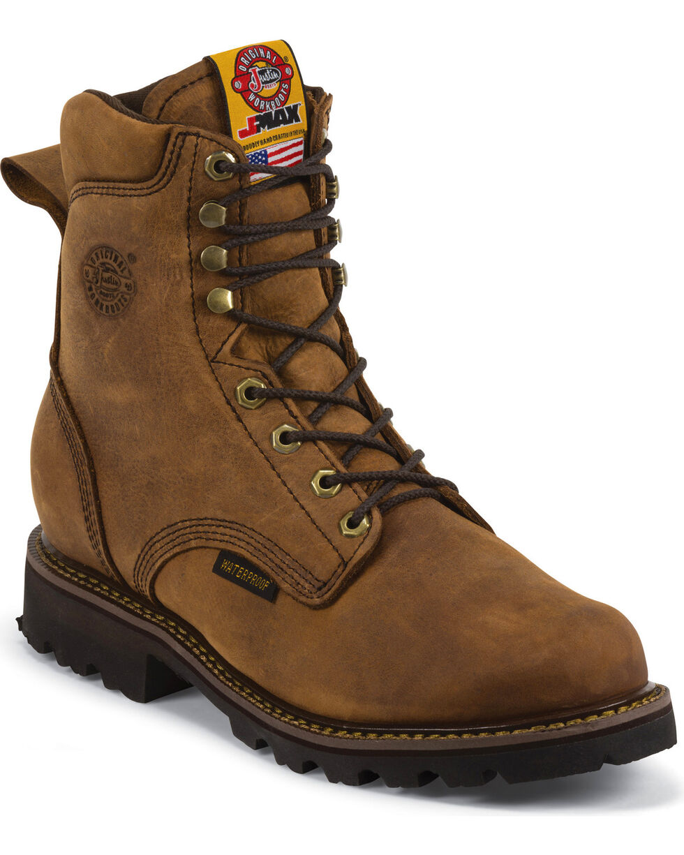 "Justin Men's JMAX 8"" WP Insulated Lace-Up Work Boots, Gaucho, hi-res"