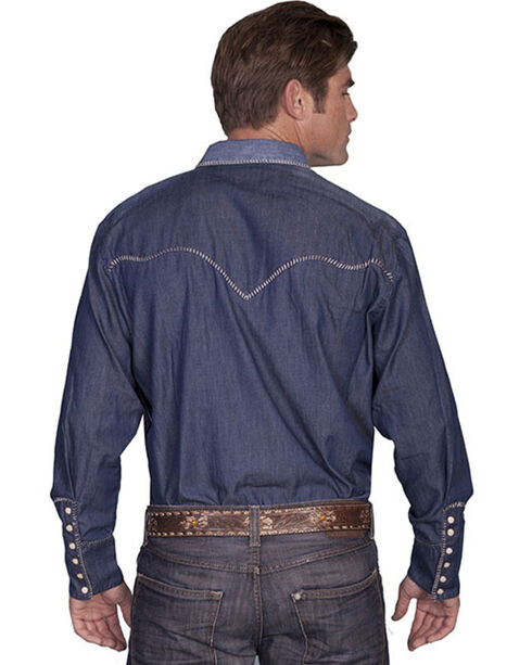 Scully Whip Stitched Denim Retro Western Shirt - Big & Tall, Blue, hi-res