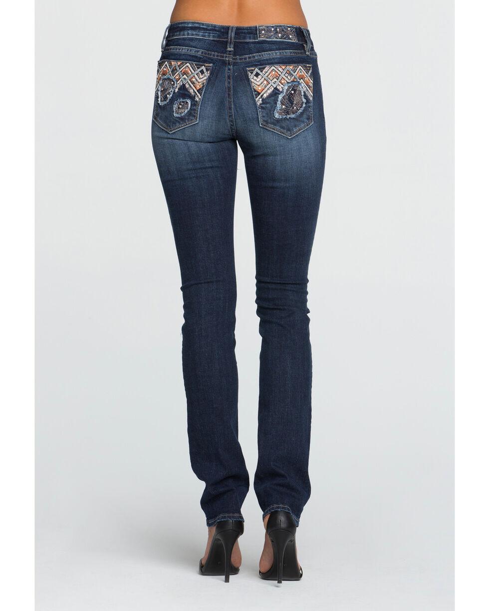 Miss Me Women's Don't Blow It Mid-Rise Straight Cut Jeans, Blue, hi-res