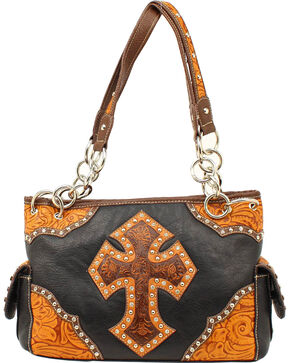 Blazin Roxx Tooled Cross Satchel Bag, Black, hi-res