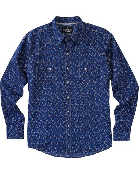 Garth Brooks Sevens by Cinch Men's Navy Clear Snaps Long Sleeve Shirt , Navy, hi-res
