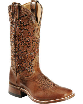 Boulet Hand Tooled Calf Cowgirl Boots - Square Toe, Tan, hi-res