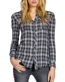 Miss Me Vintage Women's Embroidered Plaid Long Sleeve Shirt, , hi-res