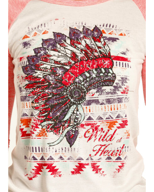 Rock & Roll Cowgirl Women's Aztec & Headdress Baseball Tee, Pink, hi-res