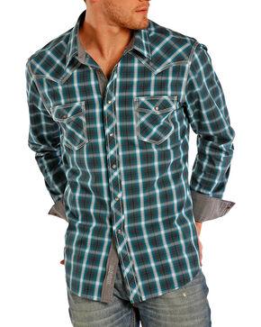 Rock & Roll Cowboy Men's Contrast Plaid Long Sleeve Shirt, Turquoise, hi-res
