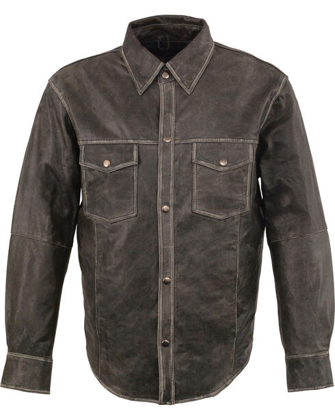 Milwaukee Leather Men's Grey Lightweight Leather Shirt - Big 3X , Grey, hi-res