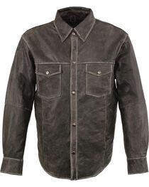 Milwaukee Leather Men's Grey Lightweight Leather Shirt - Big 4X , Grey, hi-res