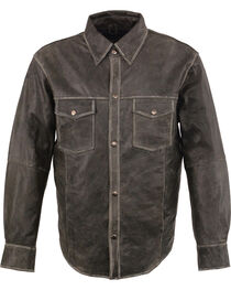 Milwaukee Leather Men's Grey Lightweight Leather Shirt - Big 5X , , hi-res