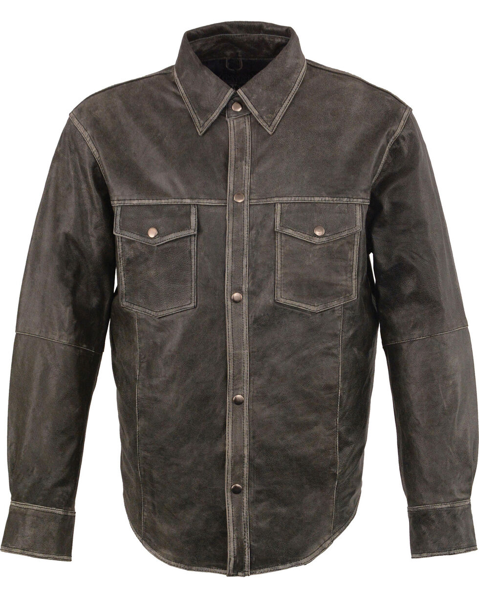 Milwaukee Leather Men's Grey Lightweight Leather Shirt - Big 5X , Grey, hi-res